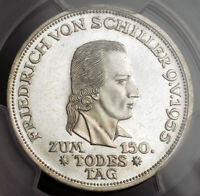 "1955, Germany. Scarce Silver ""Friedrich von Schiller"" 5 Mark Coin. PCGS MS-62!"