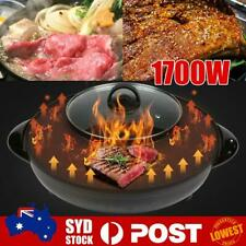 2 IN1 Electric BBQ & Hotpot Grill Oven Non-Stick Smokeles Pan Steamboat Hotpot O