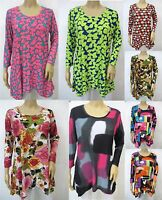 Slinky Knit Retro Print 3/4 Sleeve Scoop Neck Shark Bite Tunic Long Top Sz S~3X
