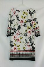 Atmosphere White Pink Black Yellow Floral Stretchy 3/4 Sleeve Shift Dress UK 14