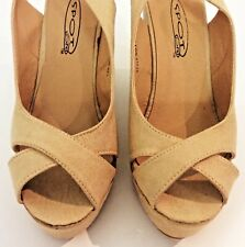 "RETRO 40/50's Vintage Style Wedge shoes Beige with 5"" Wedge Size 38 EU 5 UK Box"
