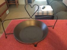 Black Metal Pie Pan Shaped Candle Holder