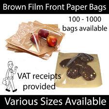 More details for brown clear film front paper bags food sandwich pastries cellophane window bag