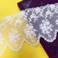 1 Yard Mesh Ribbon Embroidered Lace Edge Trim Floral Wedding Bridal Sewing Craft