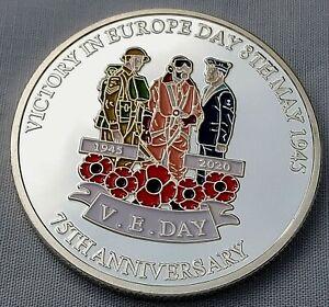 VJ Day V-E Silver Coin 75th Anniversary World War II Americana Army Navy RAF USA