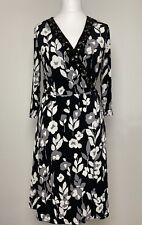LAURA ASHLEY occasion black floral wrap dress size 14 beaded jewelled