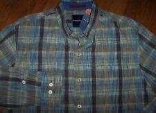 NWT Tommy Bahama ROBERT JANIERO Geo/Stripe Behring Blue Cotton Shirt Men's XL