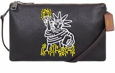 Coach X Keith Haring Pebbled Leather Lyla Black Clutch Crossbody Bag F11771