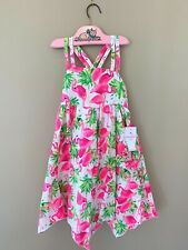 Tommy Bahama Kids Dress & Matching Hair Piece Pink Flamingos NWT Girl's Size 5