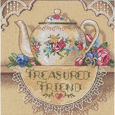 Dimensions Gold Petite Treasured Friend Teapot Counted Cross Stitch Kit