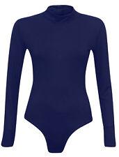 Womens Turtle Polo Neck Bodysuit Leotard Long Sleeve Top