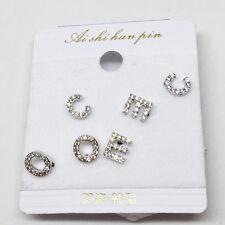 3Pairs Silver Ear Stud Alloy C E O letter Cubic Zirconia Shape Earrings Set Gift