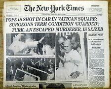1981 NY Times newspaper POPE JOHN PAUL II SHOT at Vatican  ASSASSINATION ATTEMPT