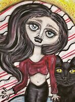 Goth Girl with Black Cat by Artist KSams art abstract SIGNED 4 x 6 PRINT