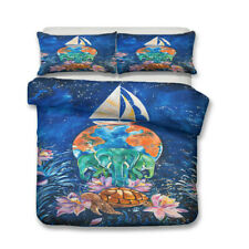 Novelty Gift Sea Turtle Jellyfish Elephant Earth Bedding Duvet Quilt Cover Set