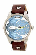 Diesel Men's Mini Daddy Steel Dark Brown Leather Strap Watch 46mm  DZ7321