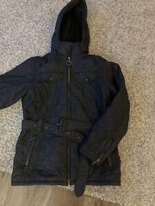 Ladies Black Barbour Waxed Coat Size 16 Excellent Condition