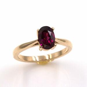 Natural Rhodolite Garnet 14KT Yellow Gold 7x5mm Oval Ring (Sizes 4-9)