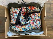 Girls Dr Doc Martens Air Wear UK 2 Boxed Canvas Wanderflower 1460 Junior Boots