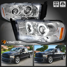 2002-2005 Dodge Ram 1500 2500 3500 LED+Halo Projector Headlights Chrome