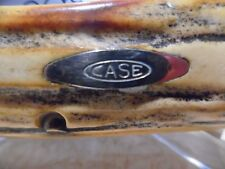 """Case xx Very Thick 1977 Vintage Stag Bulldog Clasp """"Blue Scroll"""" Knife"""