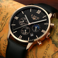 Men's Chronograph Wrist Watch Date Luxury Leather Band Sport Quartz Analog Dial