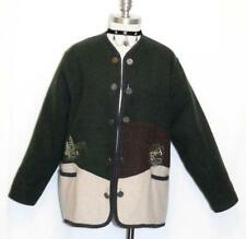 "GREEN WOOL SWEATER German Women Winter WARM Walk JACKET Over Coat B47"" 16 L"
