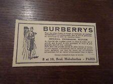 Publicité ancienne juin 1928 BURBERRYS Paris mode vêtement manteau Pub 8 x 14