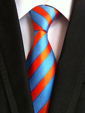 Classic Mens Necktie Fancy Silk Blue Orange Striped Ties Wedding Business XT-064