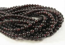 5 mm Smooth Round Garnet Semi Precious Stone Beads, January Birthstone (#475)