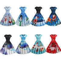Womens Christmas Swing Dress Ladies Short Sleeve Xmas Skater Dress Size 12 fc