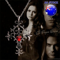 Vintage The Vampire Diaries Red Heart Crystal Cross Necklace Pendant