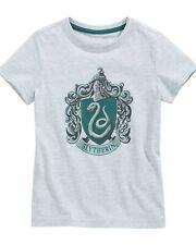 Harry Potter Slytherin Crest Boy's T-Shirt Grey New Kids Children Top Official