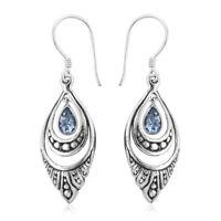 BALI LEGACY 925 Sterling Silver Blue Topaz Drop Dangle Earrings Jewelry Ct 0.9