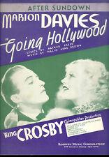 "Going Hollywood Sheet Music ""After Sundown"" Bing Crosby Marion Davies"