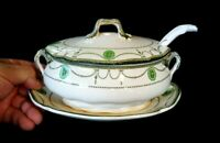 Beautiful Royal Doulton Countess Green Rim Small Oval Sauce Tureen Circa 1920