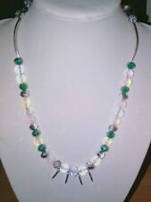 Beautiful handcrafted OPALITE, glass & acrylic beaded necklace with ANGEL WINGS