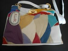A.D.R.---LEATHER WHITE PATCHED SHOULDER BAG---NWT