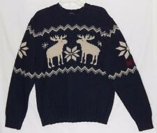Abercrombie & Fitch Wool Moose Knit Sweater Crewneck Navy Blue Mens Size XL