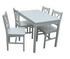 White Small Kitchen Table And 4 Chairs Home Dining Set Pine Solid Wood Furniture