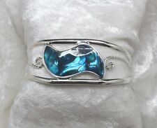Mexico Alpaca Silver Blue Wave Abalone Inlay Cuff Bracelet