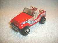 "1990 HOT WHEELS RED JEEP 1:64 DIECAST 2 3/4"" CAR WITH FLOWERS - NICE"