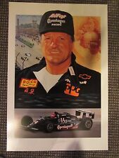 1990's A.J. FOYT JR. signed LITHOGRAPH INDIANAPOLIS 500 INDY CAR print poster aj