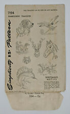 Antique Simplicity TRANSFER PATTERN Sportsmans Motifs Embroidery UNCUT FF 1946