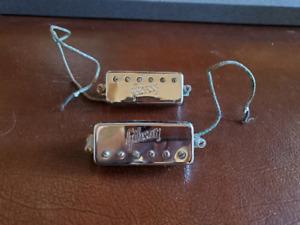 Gibson Vintage 1970's Stamped Mini-humbucker set (2) w/ mounting bars