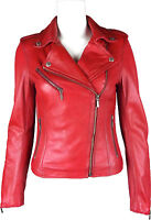 UNICORN Mujeres Corto Moda del motorista - Chaqueta de cuero genuino - Rojo #GJ