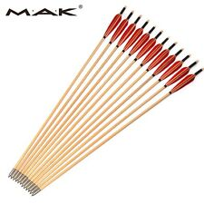 "MAK Wooden 31"" Cedar Pine Arrow W/Turkey Feathers OD8.5mm F/Archery Arrows 12PCS"