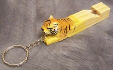 Carved Solid Wood Key Ring Chain whistle Tiger NEW