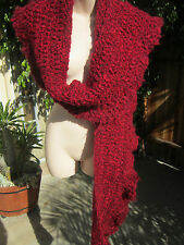 "Beautiful Vintage Hand Knited Long Shawl/Scarf/wrap  in Burgundy color 100""x9"""