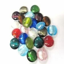20 x Silver Foil Flat Round Glass Beads - 20mm - Assorted Mixed -A3940